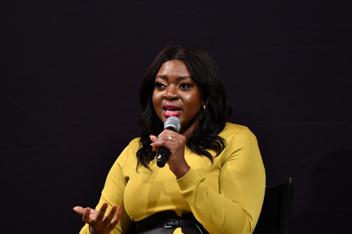 H&M's Ezinne Kwubiri speaking at a 'How I Get It Done' event in October 2019.