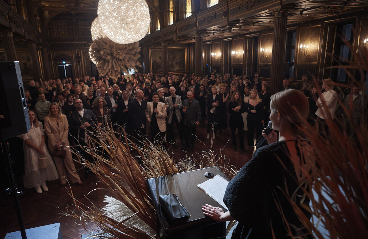 Cecilie Thorsmark addresses a crowd gathered for Copenhagen Fashion Week in January.