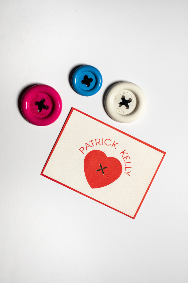 Patrick Kelly buttons and label, on display at SCAD.