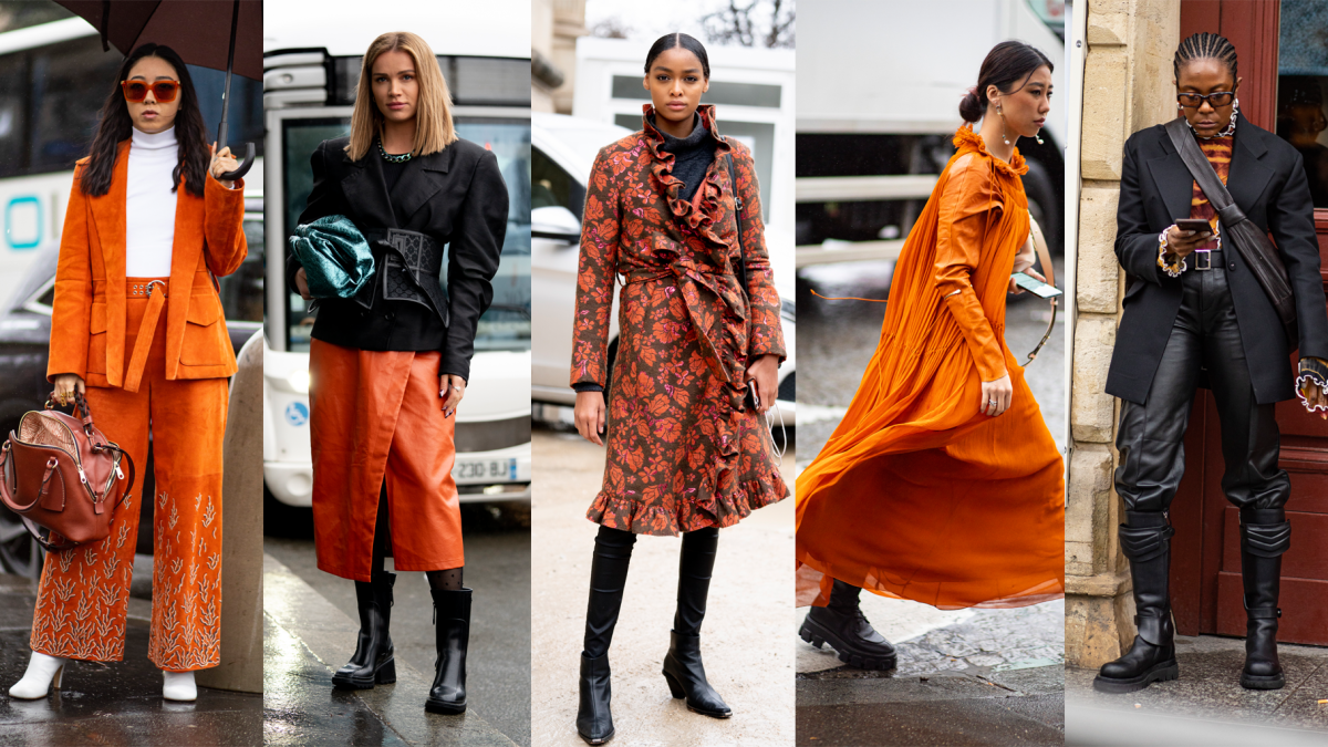 On the street at Paris Fashion Week Fall 2020.