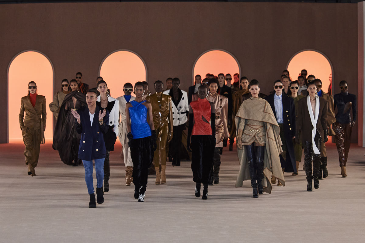 Olivier Rousteing with his models at the end of Balmain's Fall 2020 show.