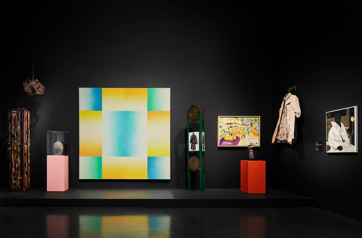 "Pieces on display at ""Duro Olowu: Seeing Chicago""."