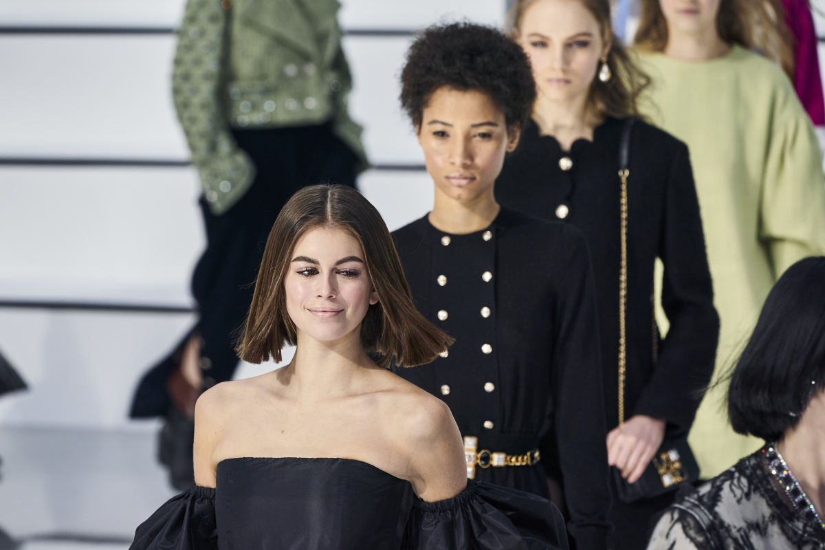 Kaia Gerber on Chanel's Fall 2020 runway.