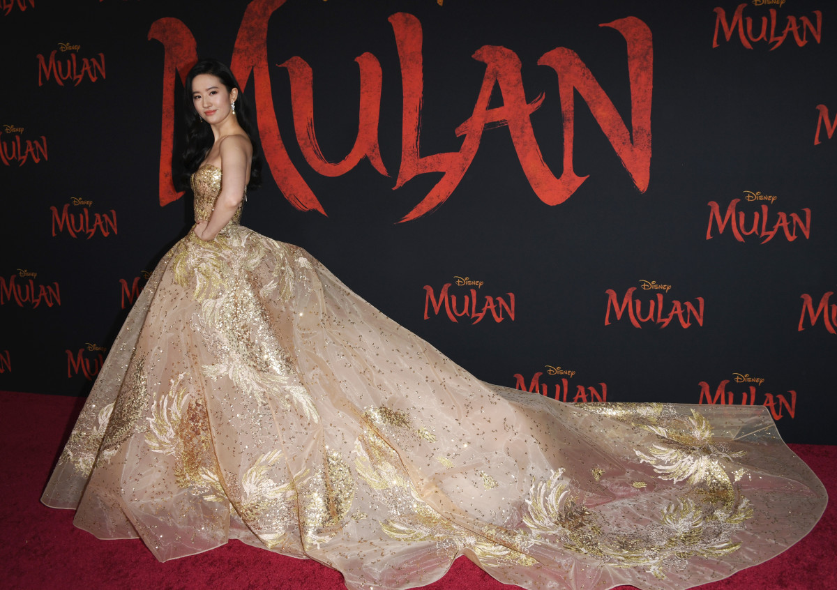 "Liu Yifei in Elie Saab Haute Couture at the premiere of Disney's ""Mulan."""