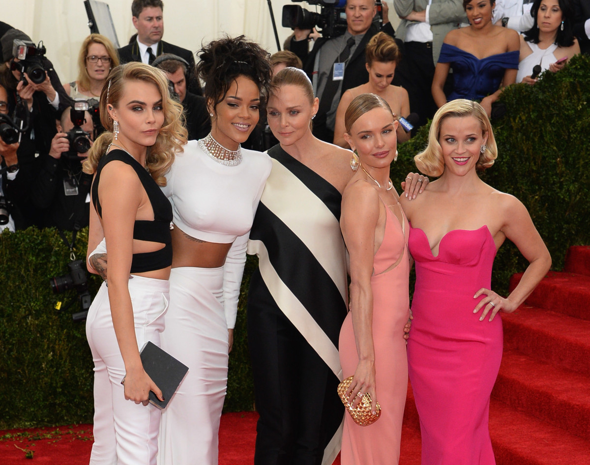 "Cara Delevingne, Rihanna, Stella McCartney, Kate Bosworth and Reese Witherspoon at the ""Charles James: Beyond Fashion"" Met Gala in 2014."