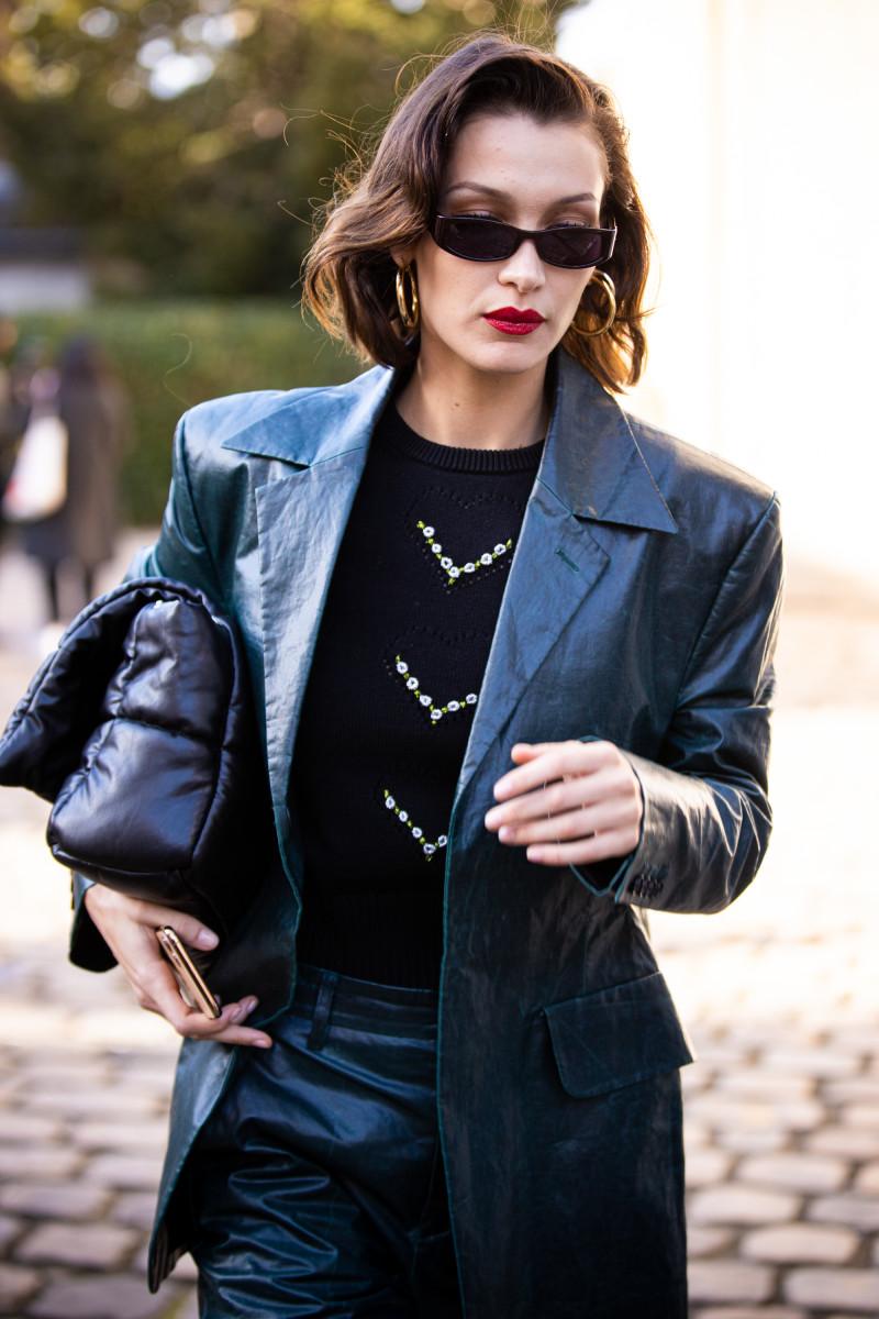 bella-hadid-paris-fashion-week-street-style-gold-hoop-earrings