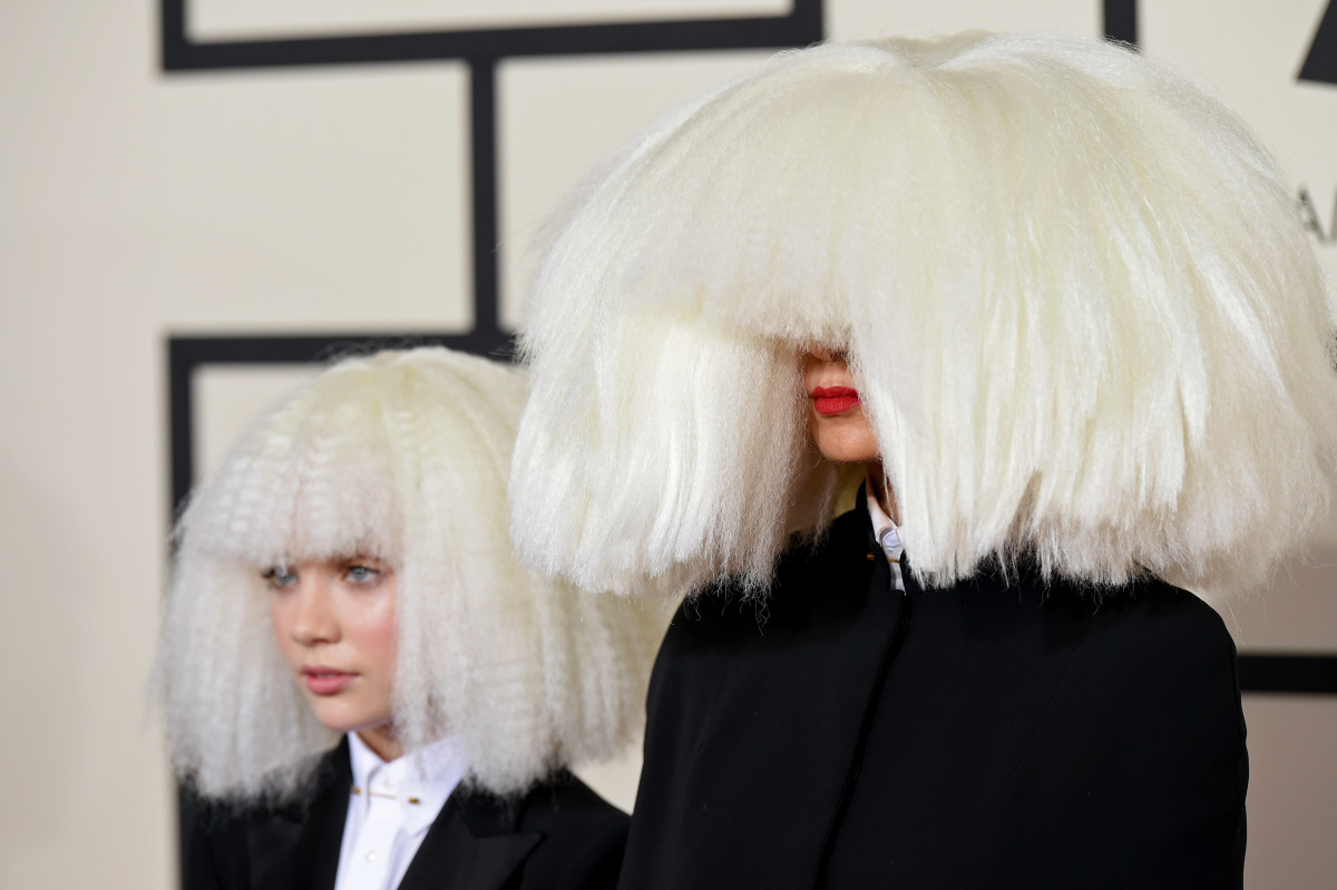 The look that started it all: Maddie Ziegler (L) and Sia (R) in custom Giorgio Armani at the 2015 Grammy Awards.