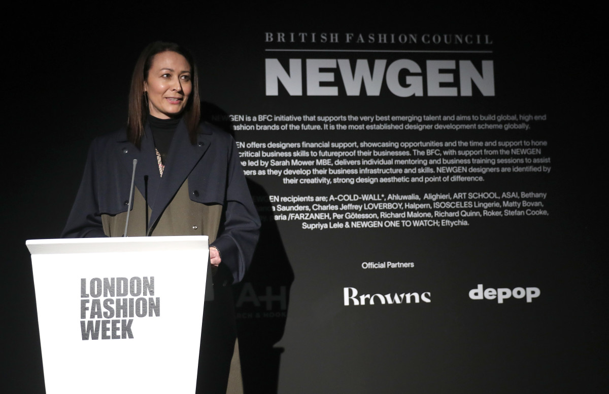 Caroline Rush, Chief Executive of the British Fashion Council, at the opening of London Fashion Week in February 2020.