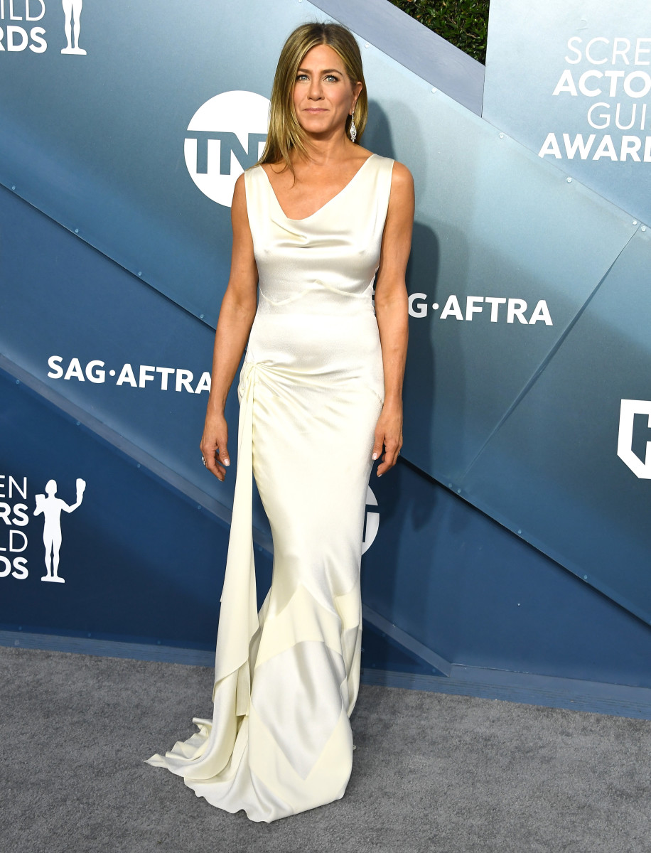 Jennifer Anniston wearing vintage Dior by John Galliano to the 2020 SAG Awards.