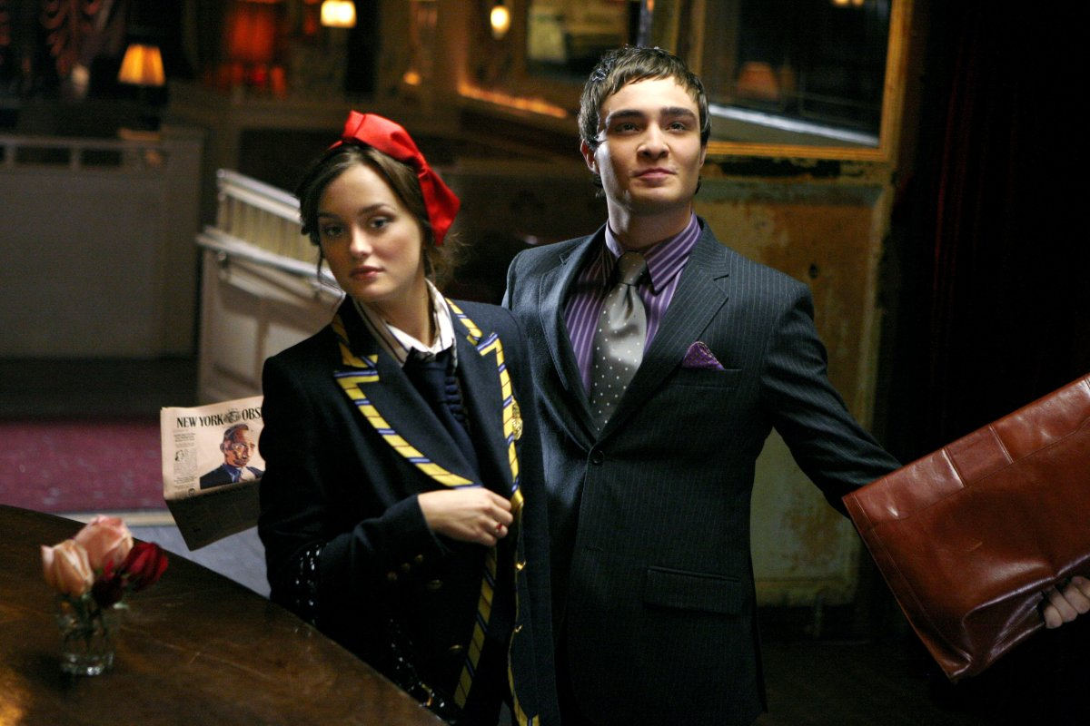 Blair Waldorf and Chuck Bass, presumably sans-belt.