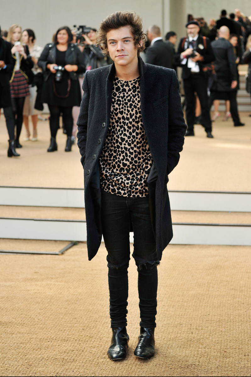 Harry Styles na Burberry no desfile da primavera de 2014 da marca.