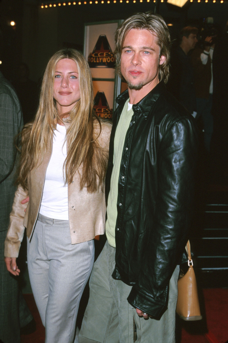 "Jennifer Aniston and Brad Pitt at the 2000 premiere of ""Erin Brockovitch"" in Los Angeles."