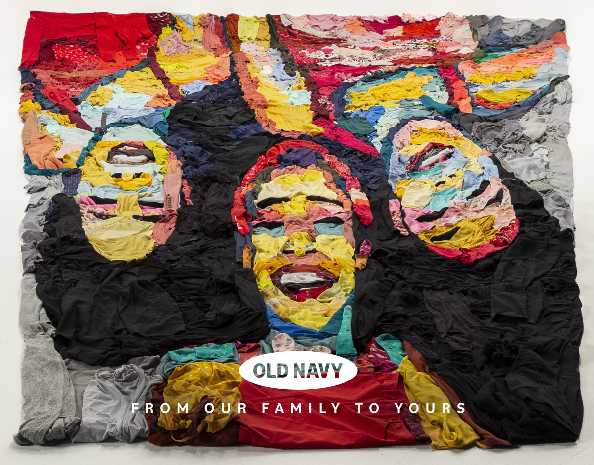 Noah Scalin's portrait made out of Old Navy clothing.