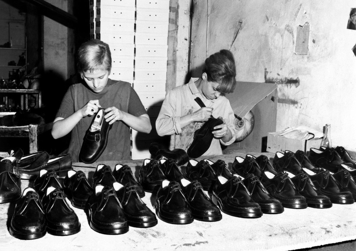 An Italian shoe factory in 1969.