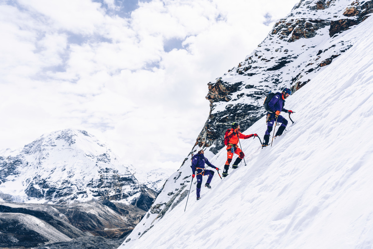 The North Face athletes climbing Chamlang, a mountain in the Nepalese Himalayas.