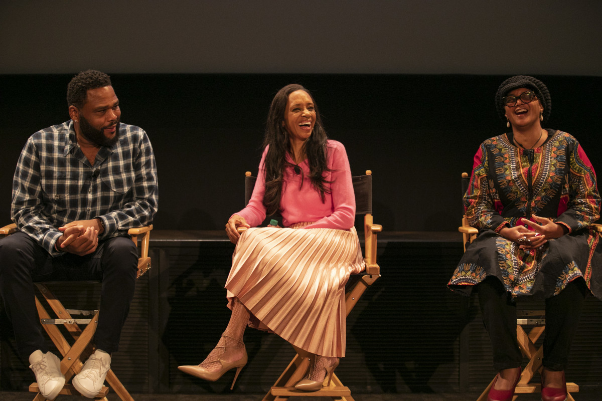 (L-R): Anthony Anderson, Cole and costume supervisor Devon Patterson during a panel discussion about the Emmy-nominated episode of 'Blackish,' 'Purple Rain.'
