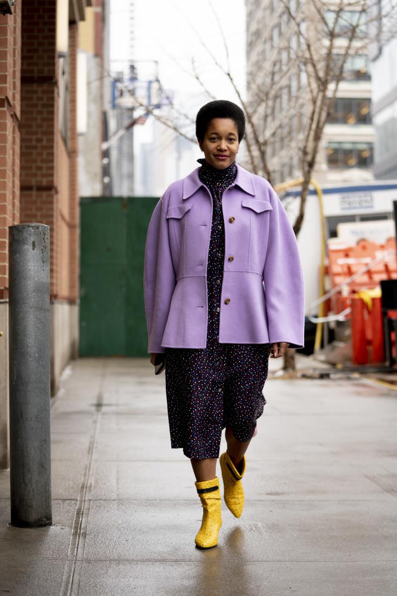 Tamu McPherson on the street at New York Fashion Week Fall 2020.