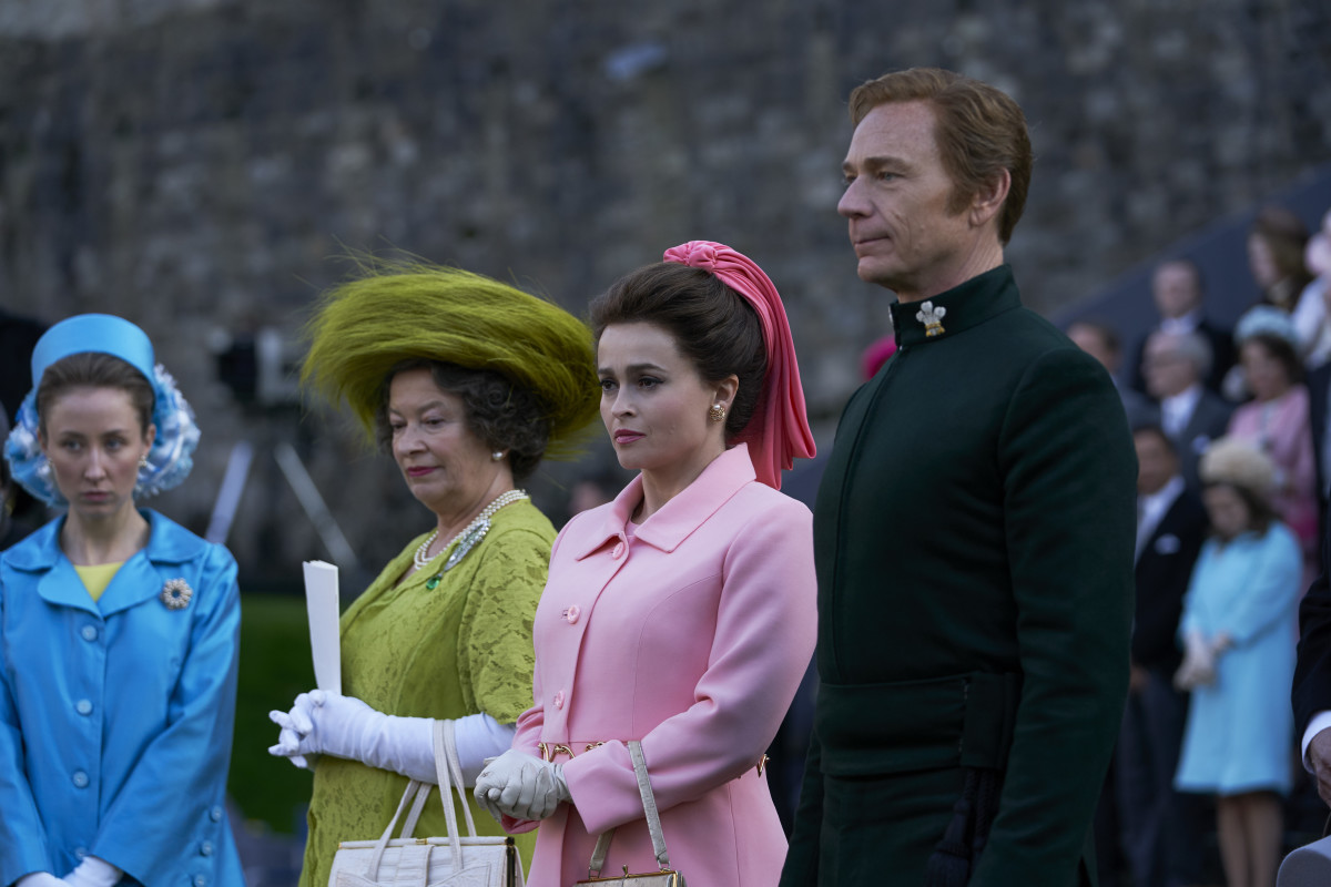 (L–R) Princess Anne (Erin Doherty), Queen Mum (Marion Bailey), Princess Margaret (Helena Bonham Carter) and Tony (Ben Daniels).