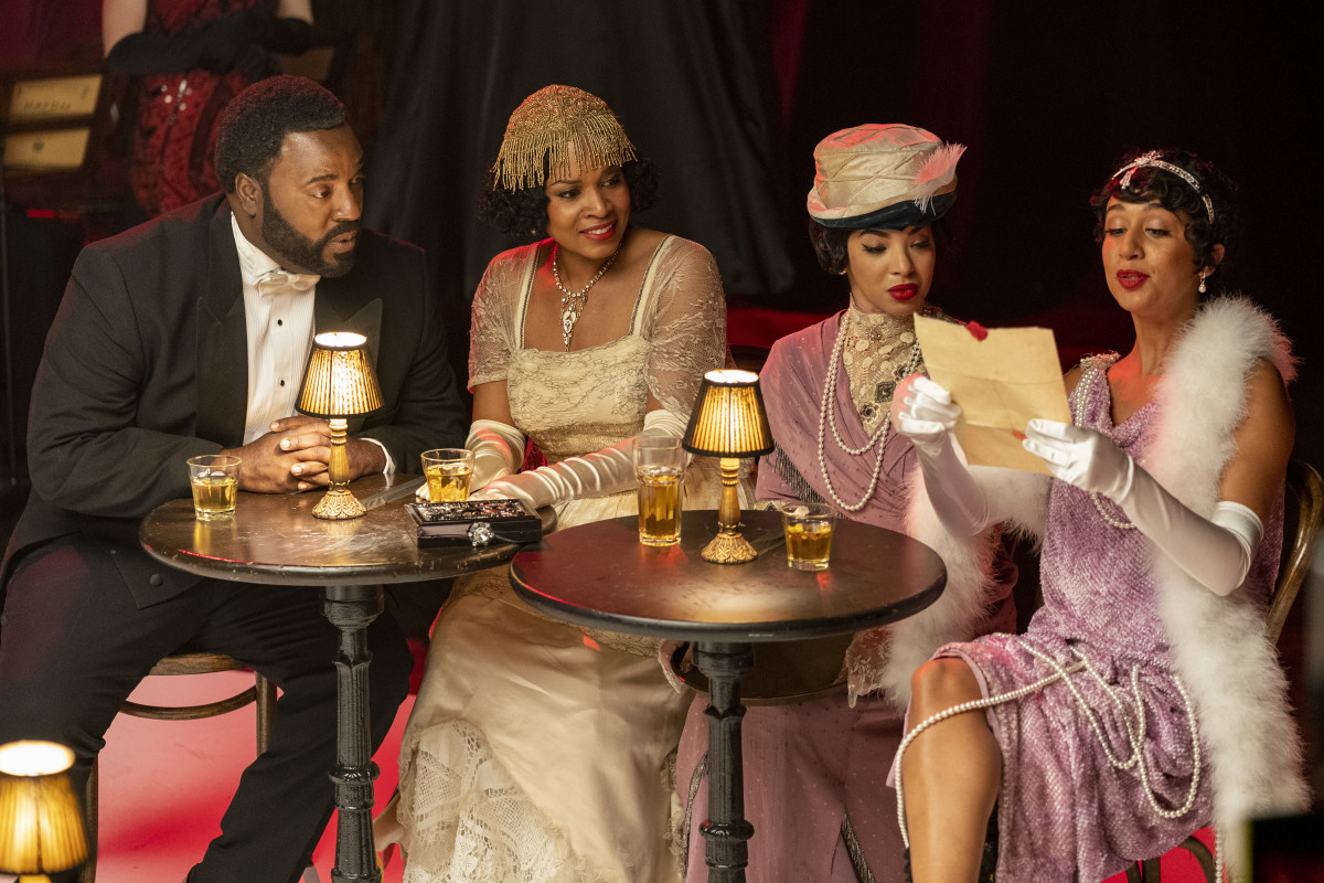 Bashir Salahuddin as Paul Robeson/Count Basie, Day'Nah Cooper as Dowager Countess of Basie, Aleksei Archer as Adelaide Hall, Nefetari Spencer as Zora Neale Hurston at 'Downtown Addy's.'