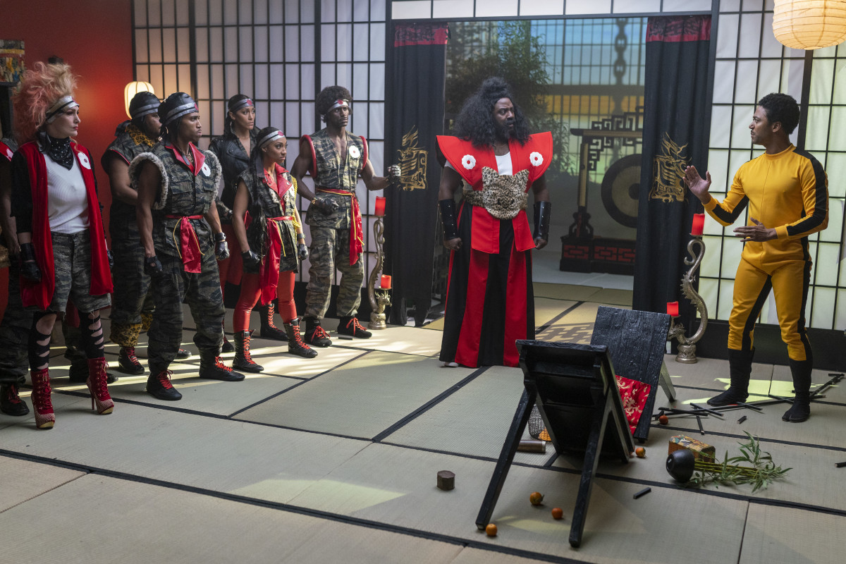 Salahuddin as Sho'nuff facing off with Tommy Hobson as Bruce Leroy (center and right).