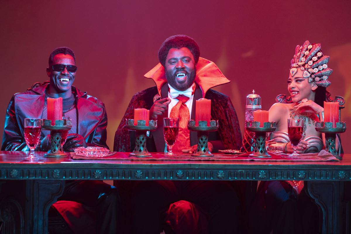 The Vampire Round Table, from left to right, Blade, Prince Mamuwalde and Queen Akasha.