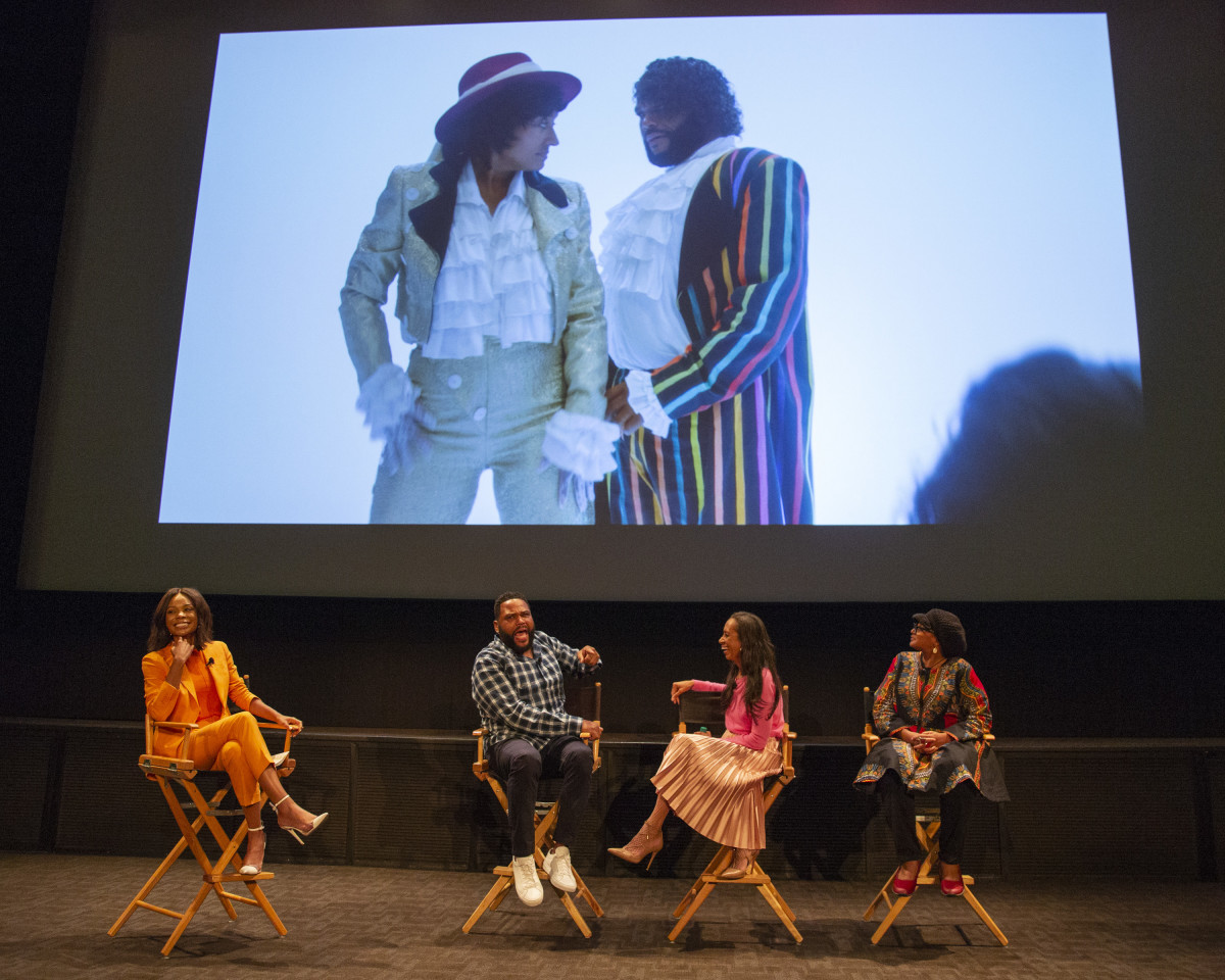 In 2019, ABC & ABC Studios hosted a screening of the 'Purple Rain' episode and panel of 'black-ish' Emmy nominees, Anthony Anderson (second from left) and costume designer Michelle Cole (second from left) and her costume supervisor Devon Patterson, moderated by Zuri Hall (far left).