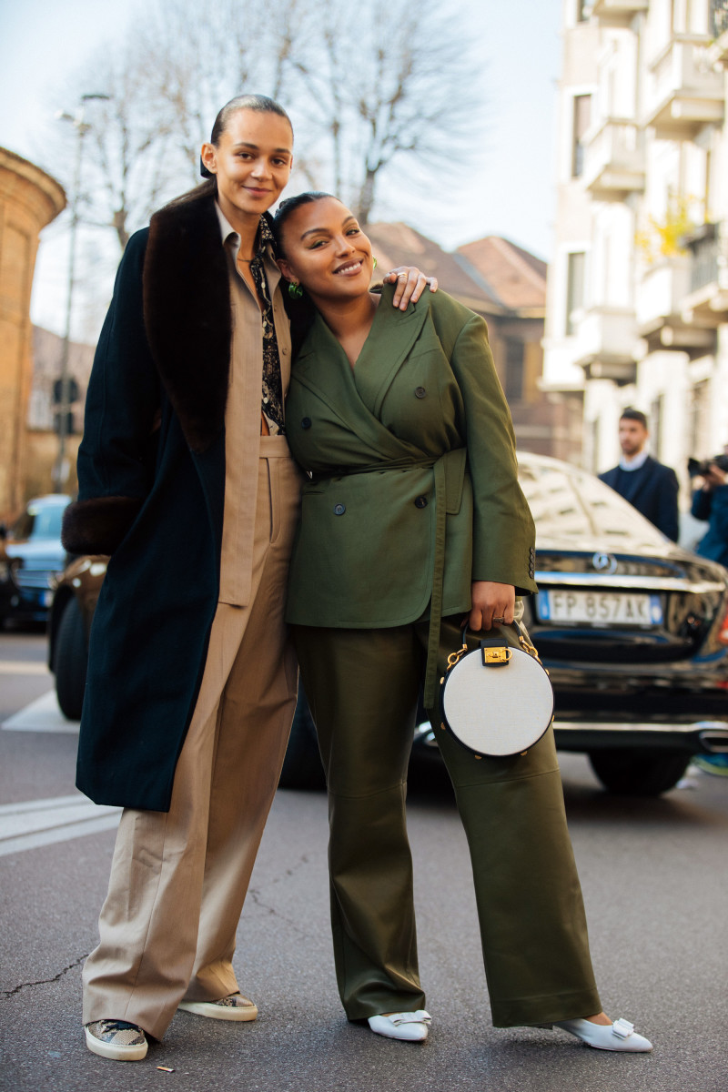 Models Binx Walton and Paloma Elsesser after Salvatore Ferragamo's Fall 2020 show during Milan Fashion Week.