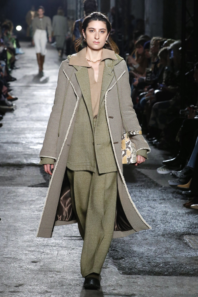 An earth-tone-heavy look from Rejina Pyo's Fall 2020 runway show, presented during London Fashion Week.