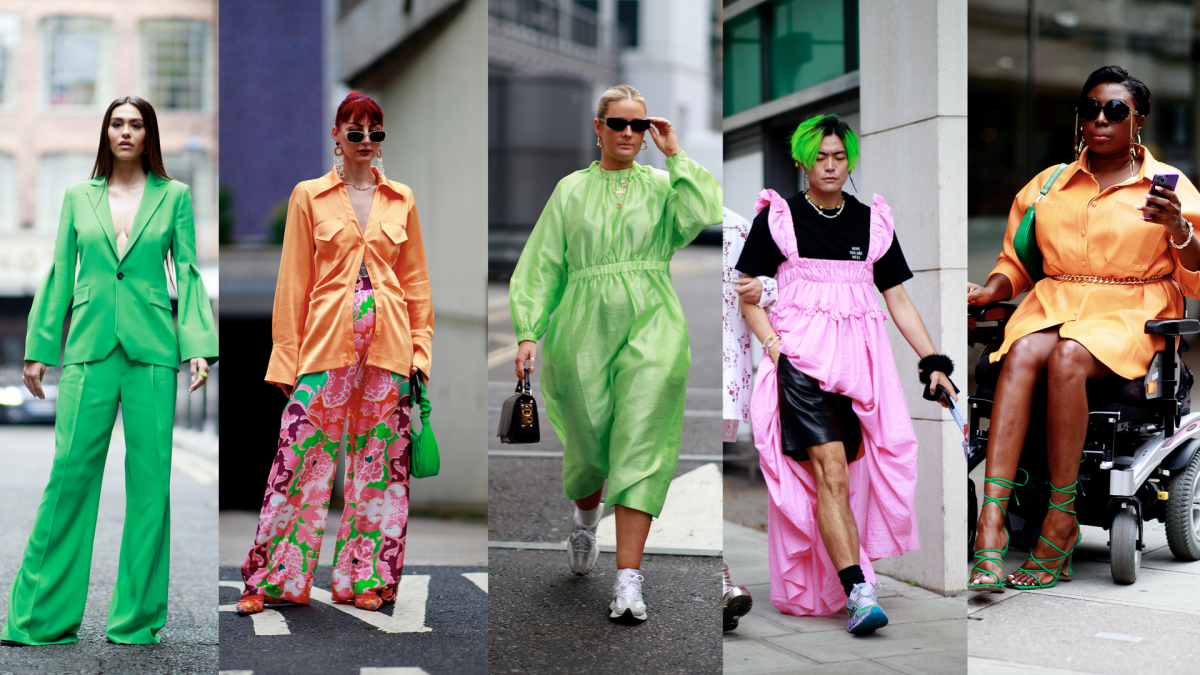 On the street at London Fashion Week Spring 2022.