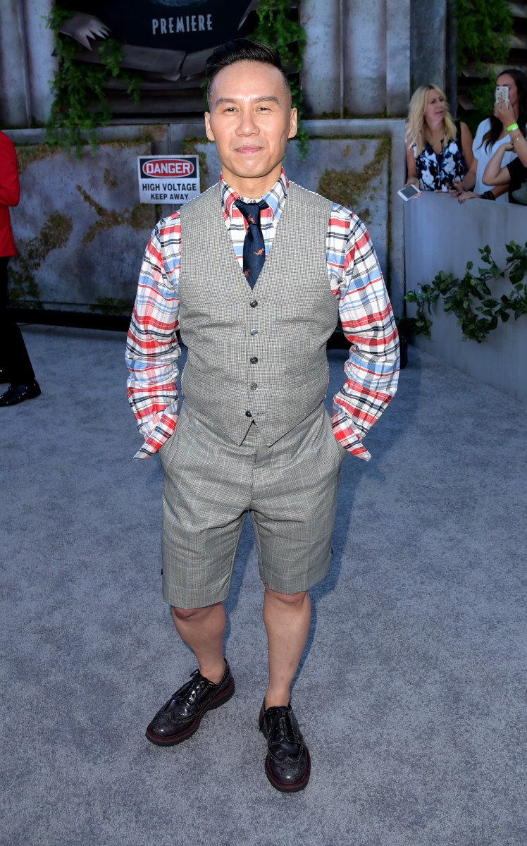 Wong in Thom Browne at the 'Jurassic World: Fallen Kingdom' premiere in 2018.