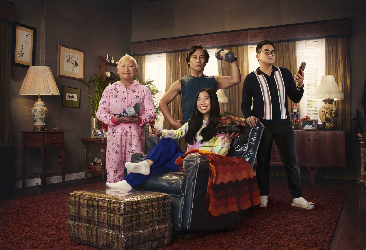 Grandma (Lori Tan Chinn), Wally. in his signature 'fit, Nora (Awkwafina) and cousin Edmund (Bowen Yang) in 'Awkwafina is Nora From Queens.;