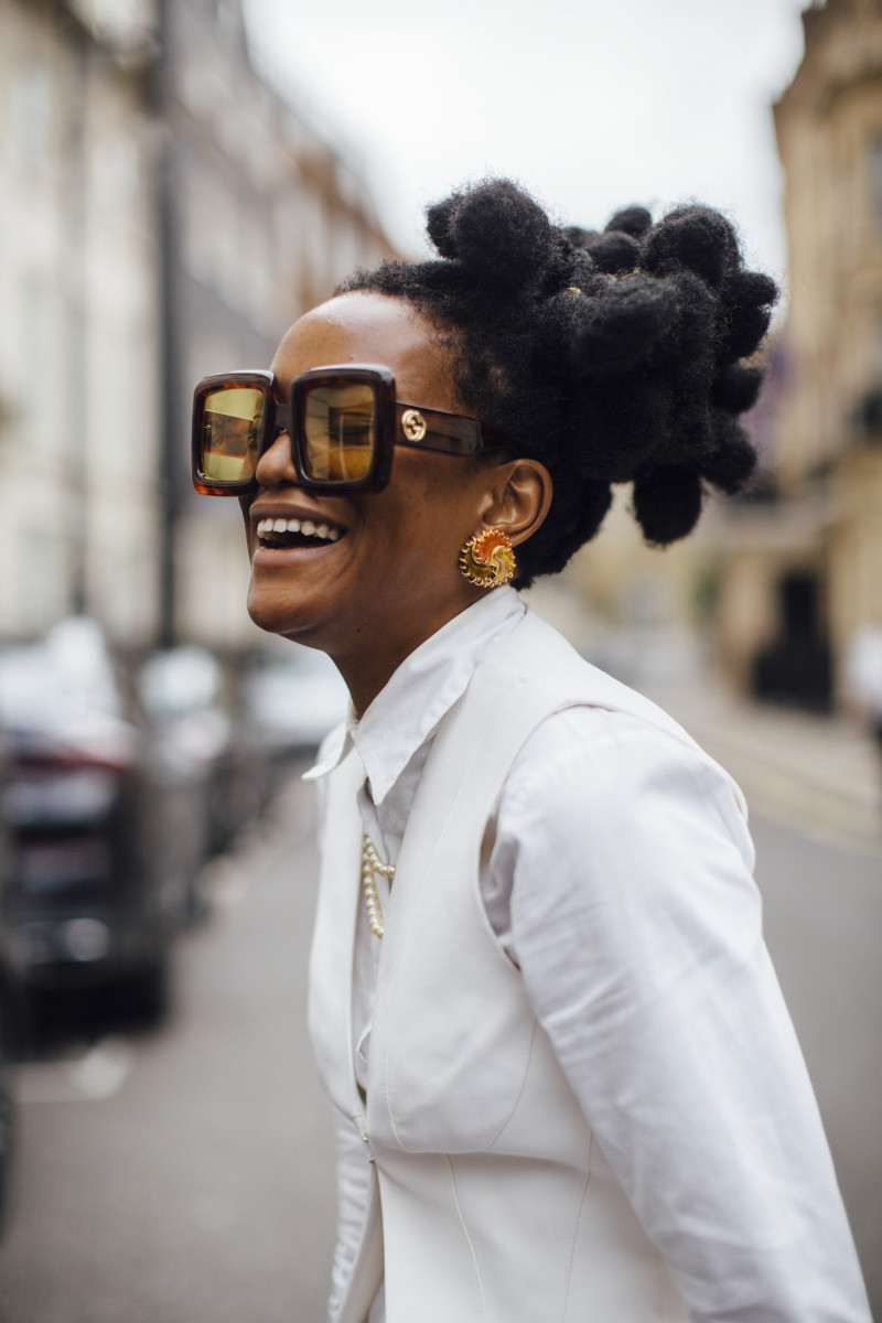 On the street at London Fashion Week.