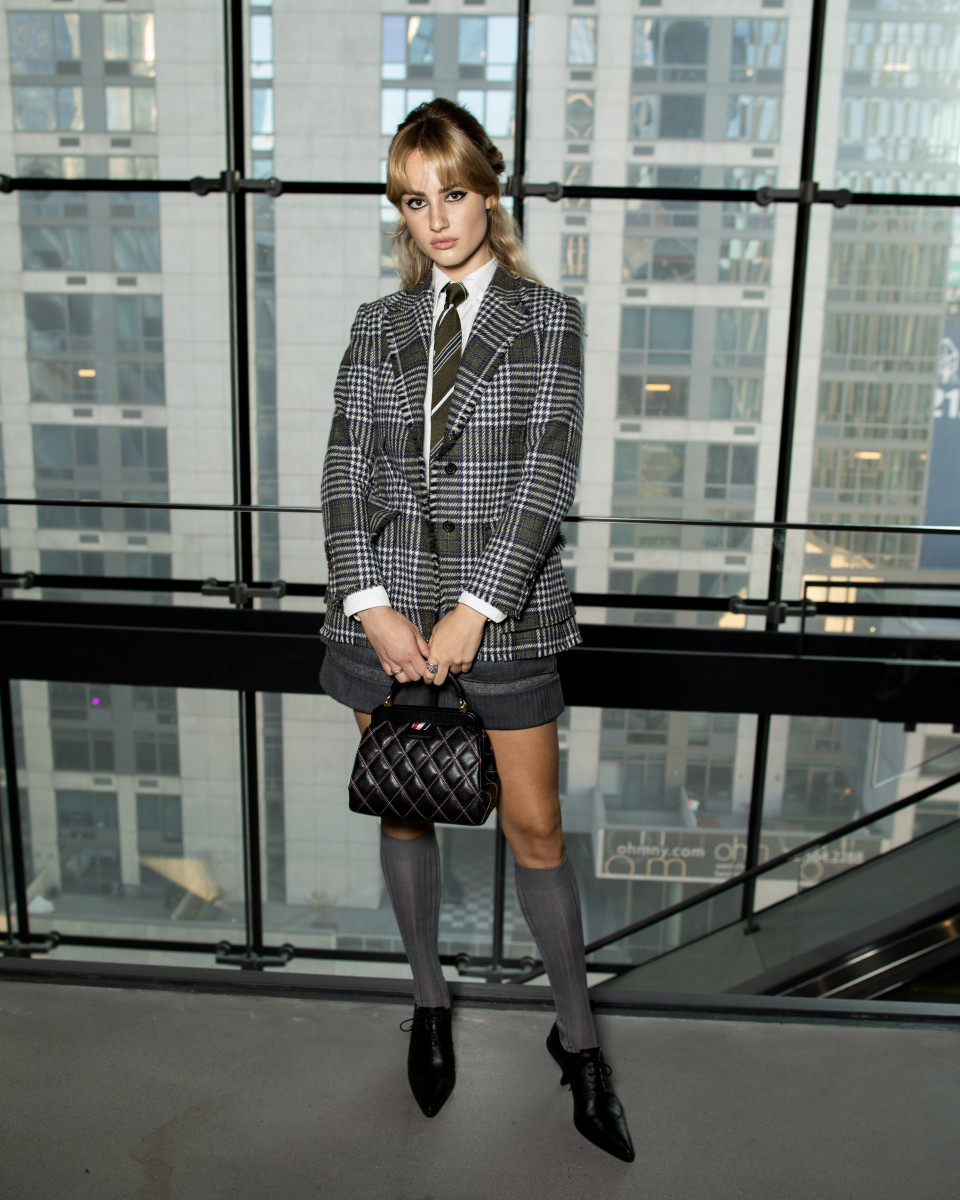 Grace Van Patten at the Thom Browne Spring 2022 NYFW show.