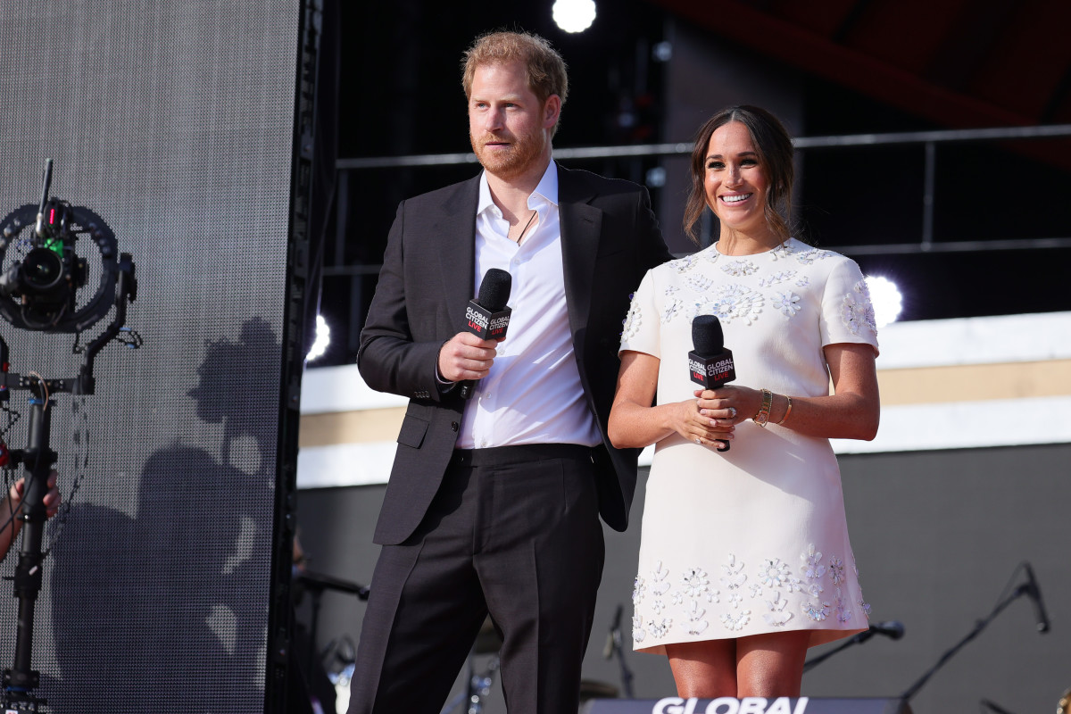 Prince Harry, Duke of Sussex and Meghan, Duchess of Sussex speak onstage during Global Citizen Live