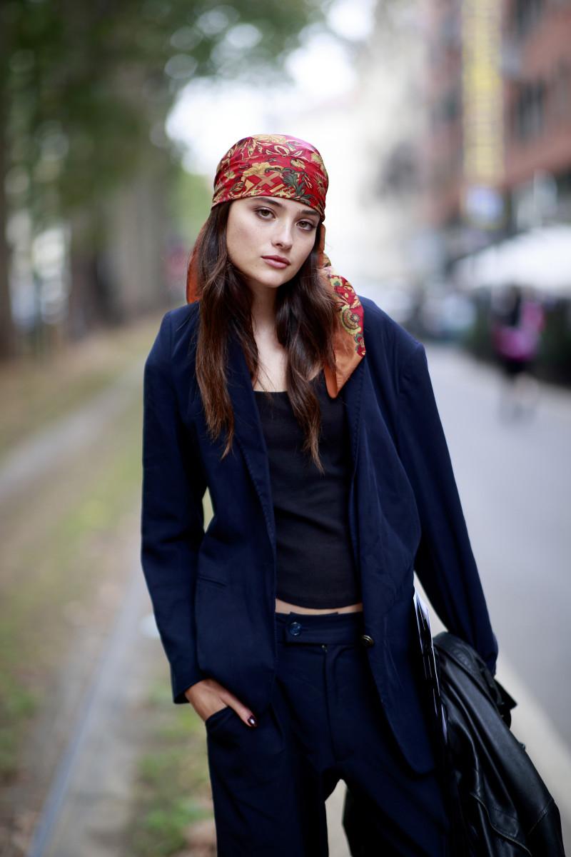 On the street at Milan Fashion Week.