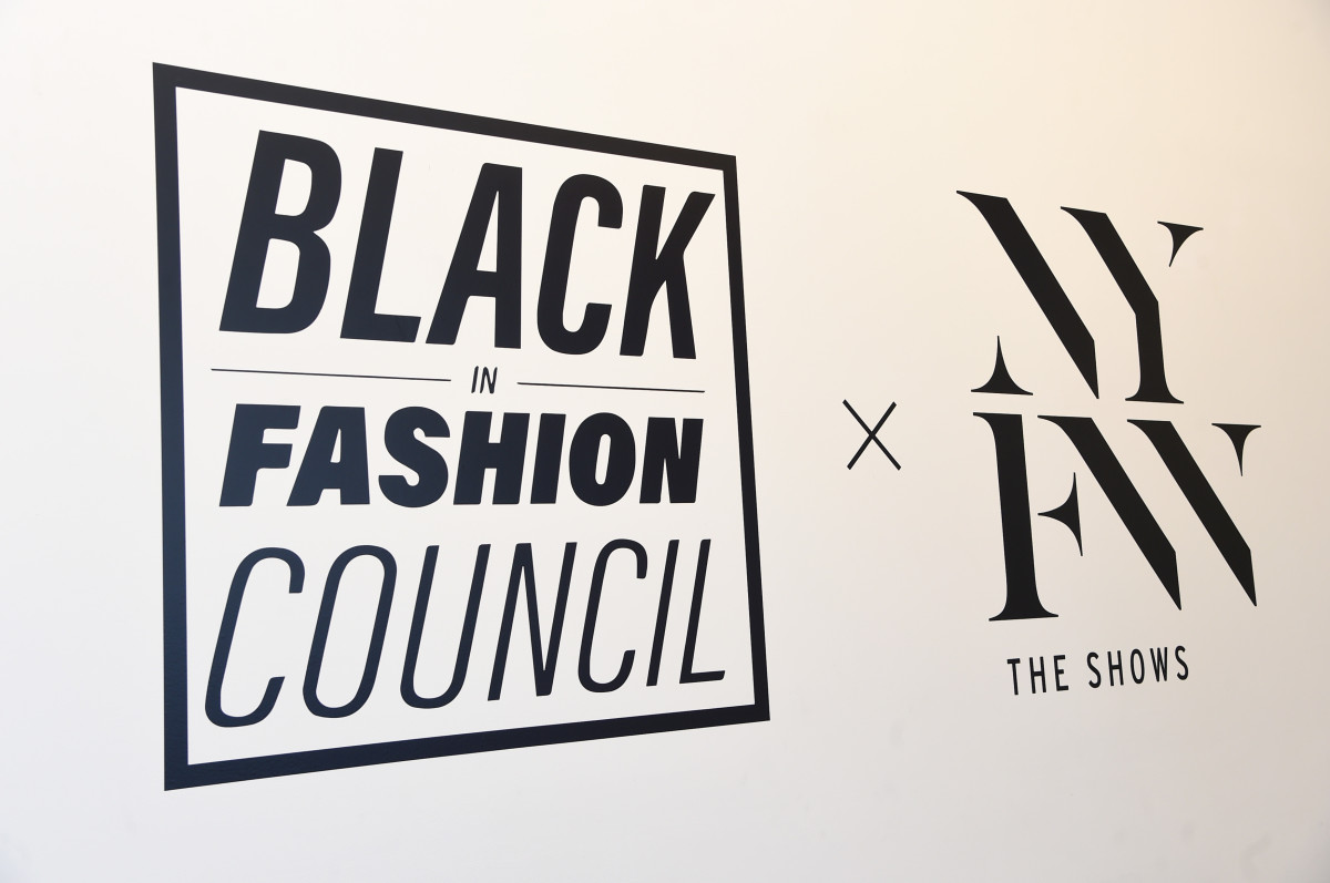 A view of signage at the Black In Fashion Council showroom during New York Fashion Week