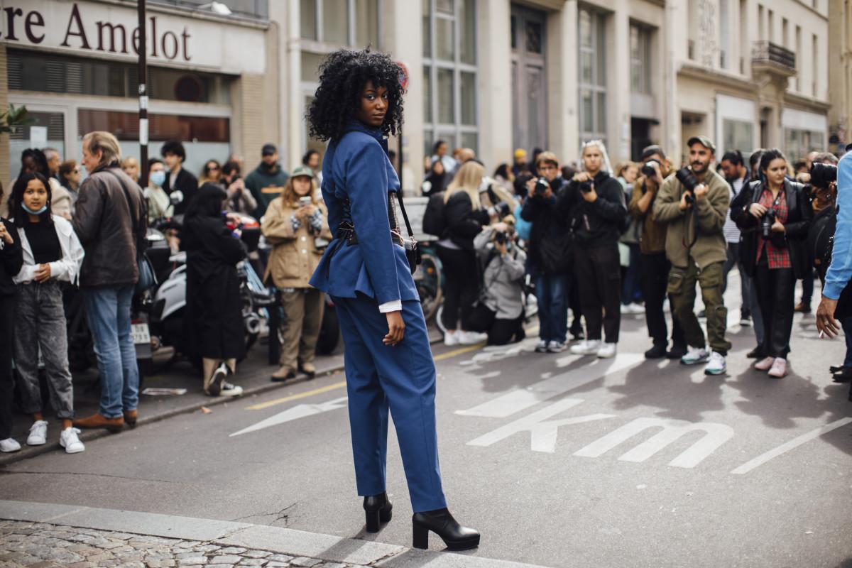 On the street at Paris Fashion Week Spring 2022.