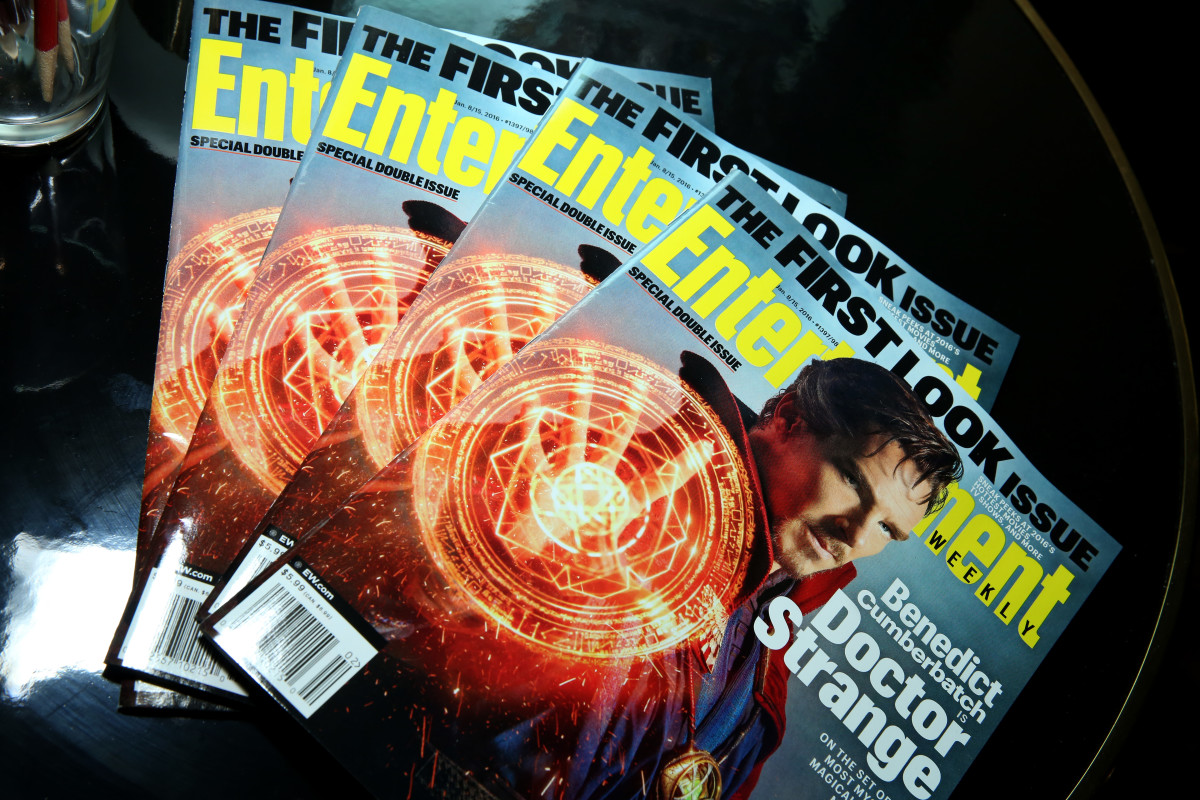 Entertainment Weekly magazine is seen on display