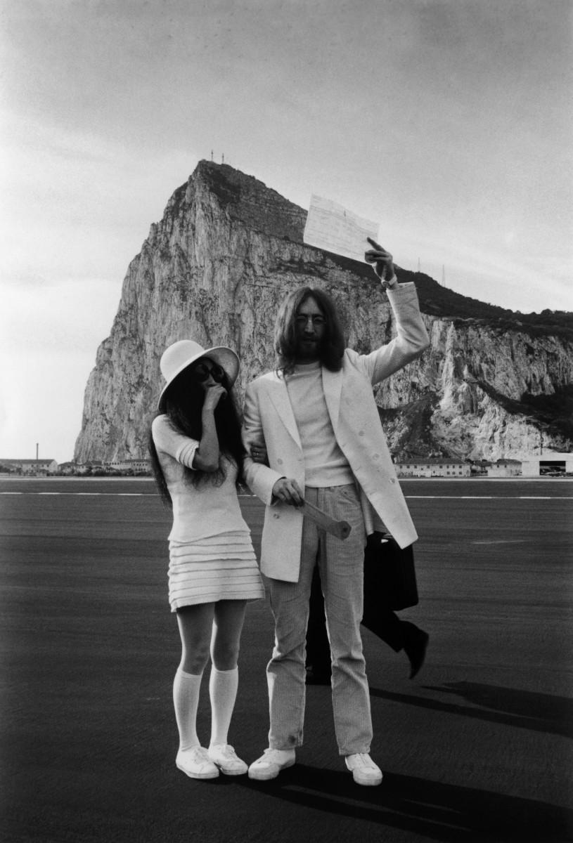 Yoko Ono andJohn Lennon after their wedding in Gibraltar in 1969.
