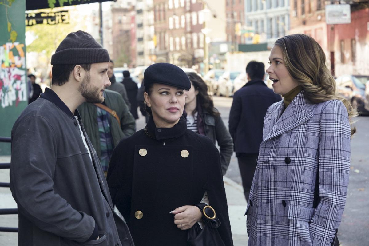 Nico Tortorella as Josh (TEAM JOSH), Mazar as Maggie, in a Loewe cape, and Sutton Foster as Liza in 'Younger.'