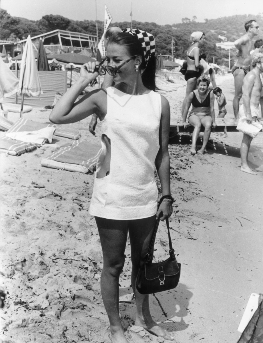 Natalie Wood on the beach in St. Tropez in 1968.