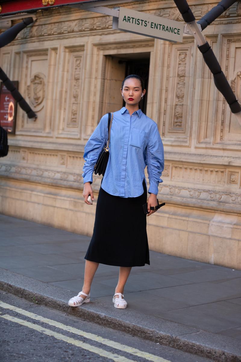 Model Ling Chen during London Fashion Week September 2019