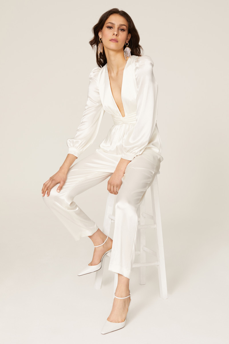A bridal jumpsuit by Ieena for Mac Duggal from Rent the Runway.