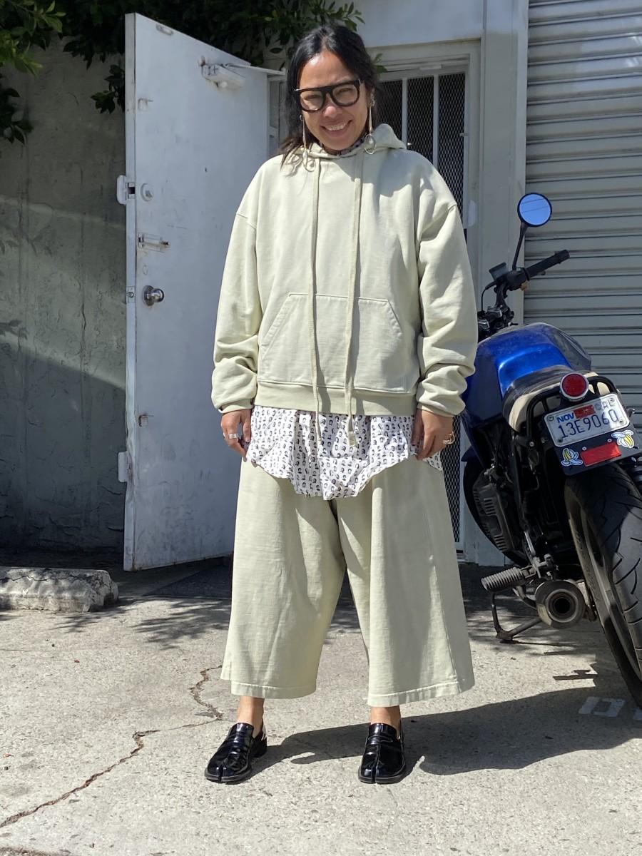 Toit Volant designer Alnea Farahbella in her culottes.