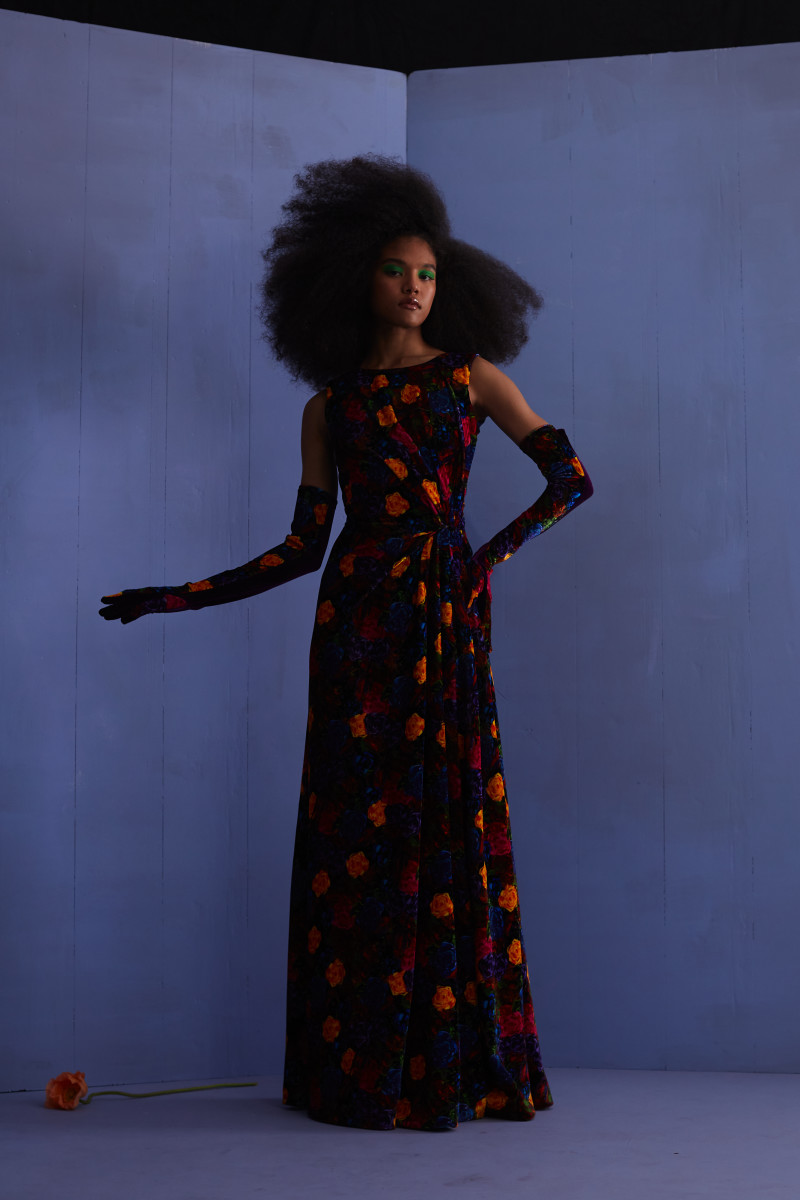 A velvet floral gown from Jonathan Cohen's Fall 2020 collection, which never went into production, comes back for the brand's 2021 ready-to-wear return.