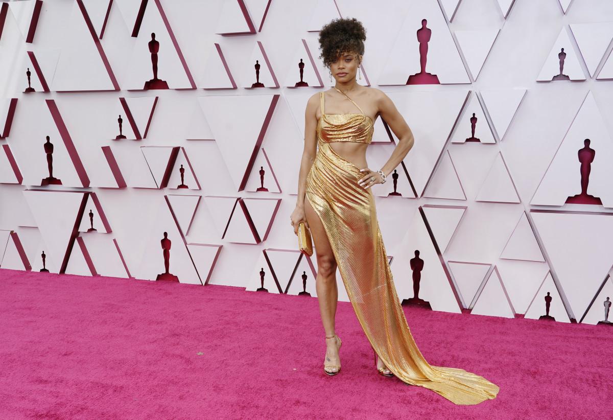 Andra Day at the 2021 Oscars in custom Vera Wang.