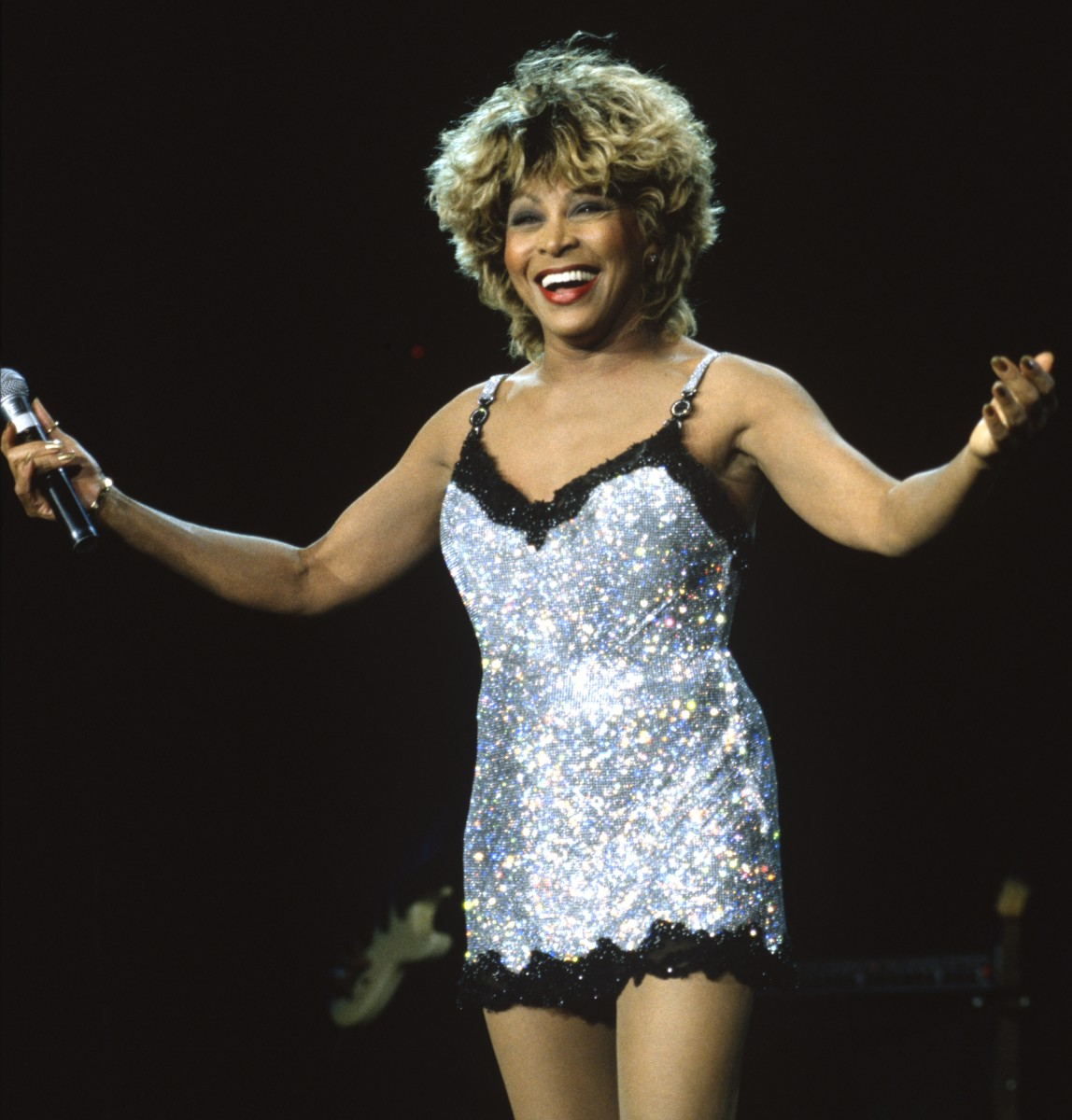 Tina Turner performs at Shoreline Amphitheatre on May 23, 1997 in Mountain View California