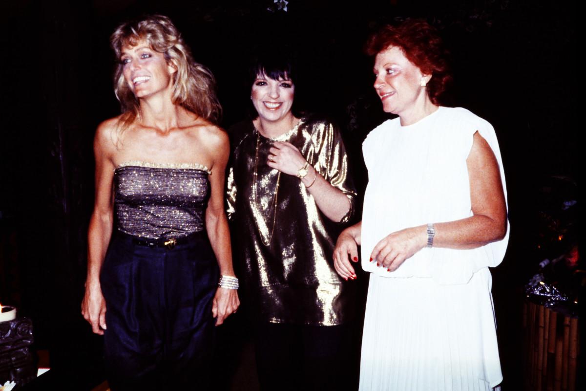Farrah Fawcett, Liza Minelli and Regine in Monacoon July 22, 1982.