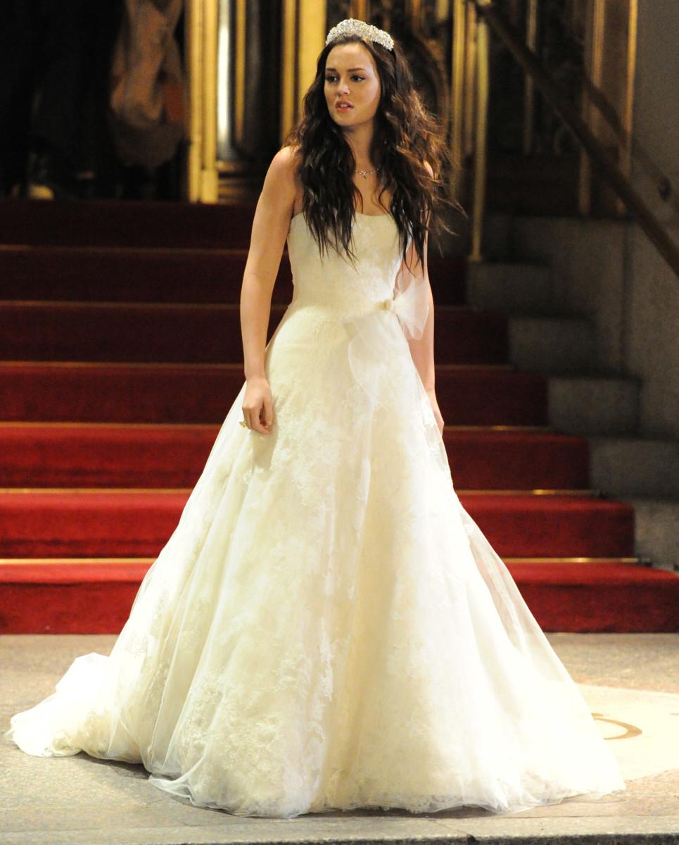 Blair in Vera Wang for the 100th episode royal wedding.