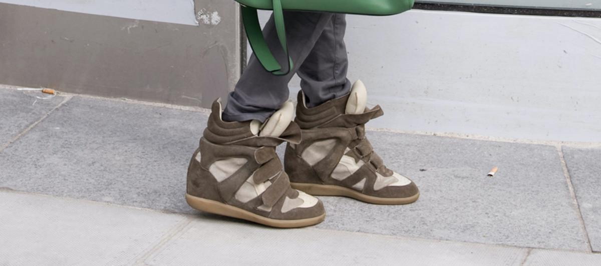 isabel marant wedge sneaker street style